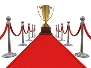 Trophy Cup on Red Carpet. Image with clipping path